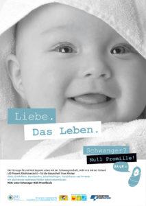 """Poster mit dem Bild von einem Baby, dazu der Spruch """"Liebe. Das Leben."""""""