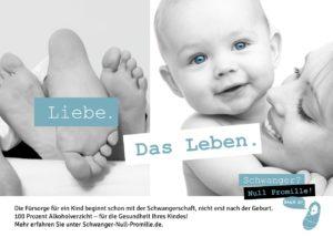 """Bild von Füssen im Bett neben dem Bild einer Frau, die ein Baby hält, dazu der Spruch """"Liebe. Das Leben."""""""