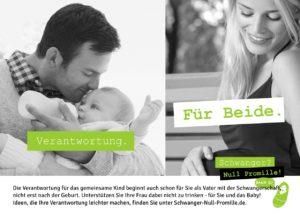 """Bild von einem Vater der sein Baby stillt neben dem Bild einer schwangeren Frau, dazu der Spruch """"Verantwortung. Für Beide."""""""