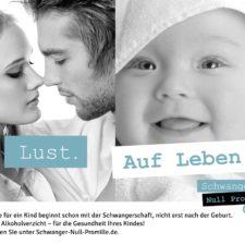 """Bild von einem küssenden Paar neben Bild von einem Baby, dazu der Spruch Lust. Auf Leben."""""""