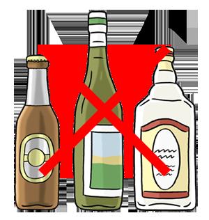 Durchgestrichene Alkohol Flaschen