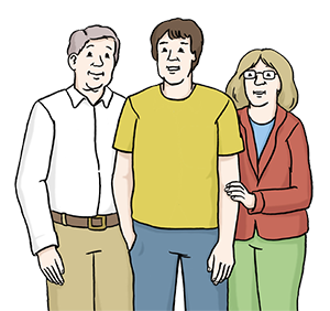 Eltern stehen ihrem Sohn zu Seite