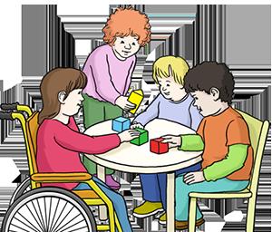 Kind in einem Rollstuhl spielt mit anderen Kindern