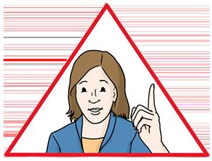 Illustration einer Frau mit gehobenen Zeigefinger in rotem Dreieck