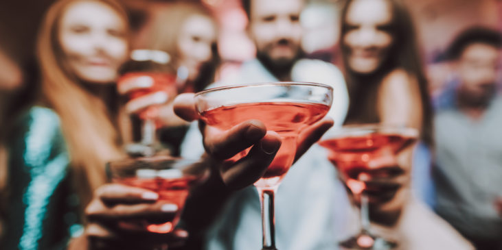 Cocktails. Selfie with Friends. Friends at Karaoke Club. Karaoke Club. Handsome Men. Beautiful Girls. Celebration. Nightclub. Have Fun. Background. Cheerful. Smiling Girl. Singing Songs.